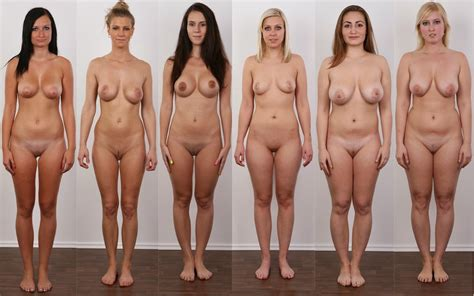 Girls lined up naked
